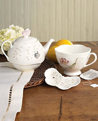 """Lenox """"Butterfly Meadow"""" Stackable Tea Set with Bag Holder"""