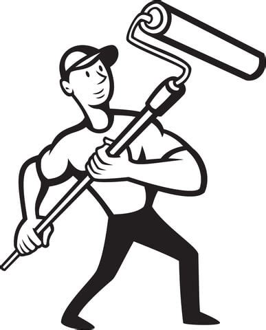 Construction worker with Paint Roller coloring page   Free