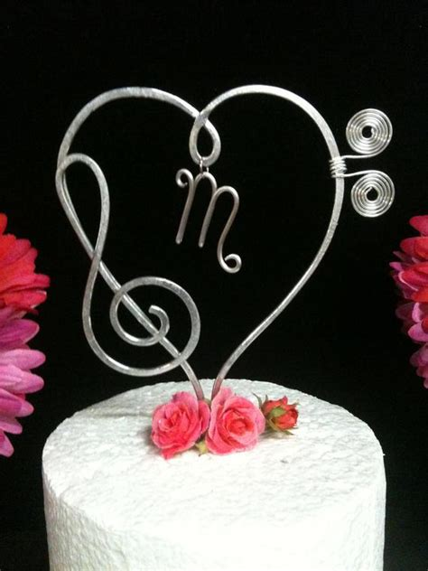 Musical Heart Treble and Bass Clef Wedding Cake topper for all