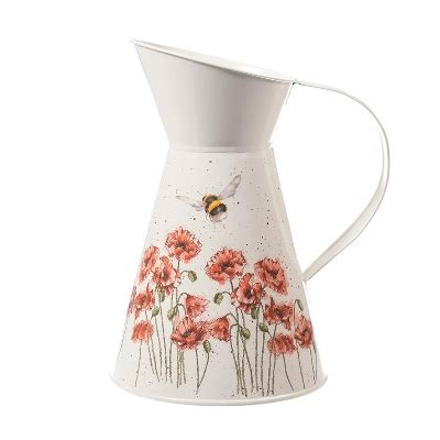 Wrendale Designs Poppies And Bee Flower Tin Jug | The Rose