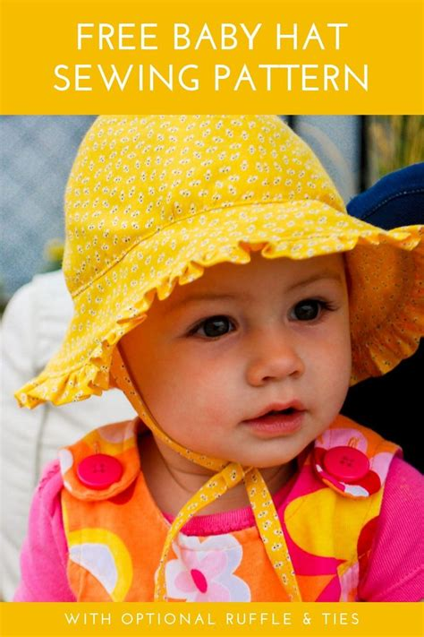 Free baby bonnet pattern: Baby sun hat sewing pattern with