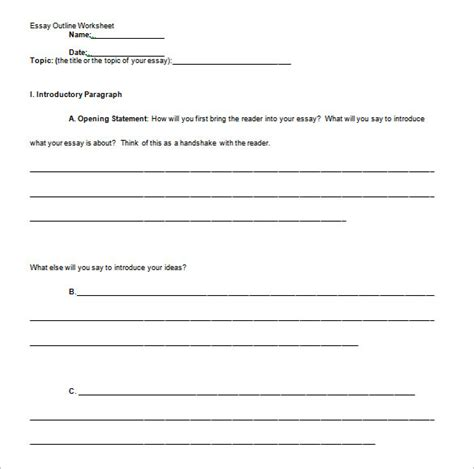 Free professional Essay Outline template, Samples