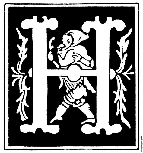 """Decorative initial letter """"H"""" from 16th Century"""