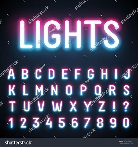 Glowing Neon Tube Font Retro Text Stock Vector 485264281