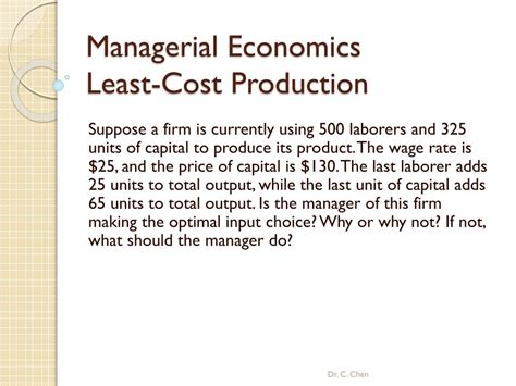 PPT - Managerial Economics Least-Cost Production