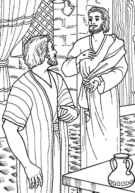 Jesus Come To Thomas Who Doubting Him Coloring Pages