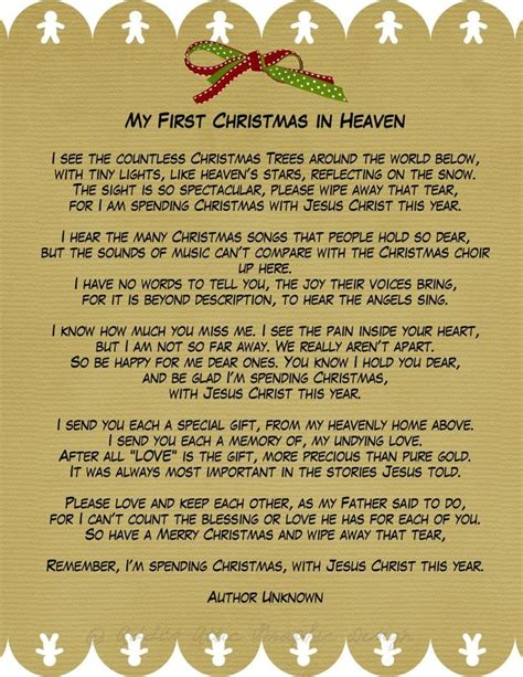 My First Christmas in Heaven A phenomenal poem for those