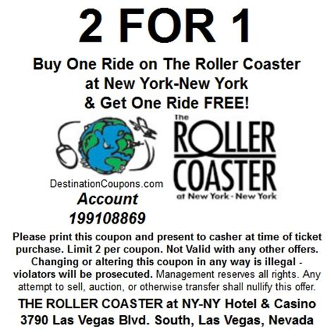 The Roller Coaster at New York New York: Two for One