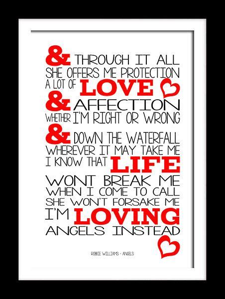 A3 Robbie Williams Angels Print Typography song music