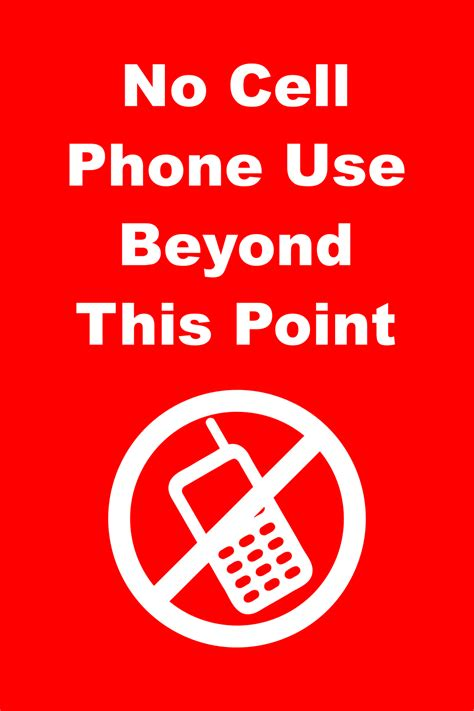 No Cell Phone Use Beyond This Point - Custom Signs
