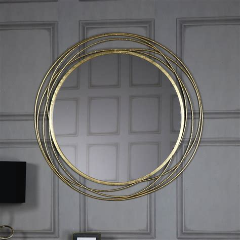 Extra Large Round Antique Gold Mirror 92cm x 92cm - Melody