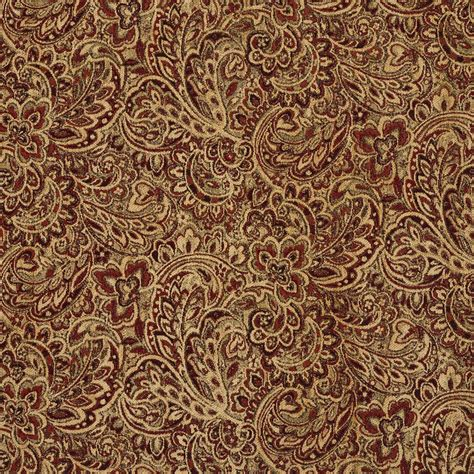 Tuscany Coral and Gold Large Floral Chenille Upholstery Fabric