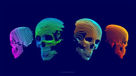 Wallpaper abstract, 3D, colorful, skull, 8k, Abstract #21283