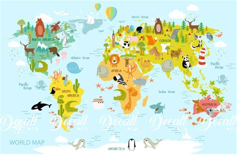 Animal World Map Wall Decal - Kids Country World Map