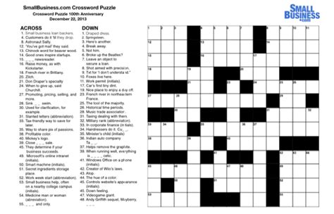 Small Business Crossword Puzzle