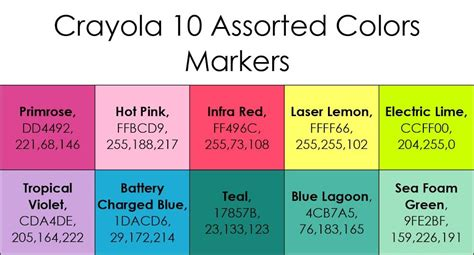 List of Current Crayola Marker Colors | Crayola markers