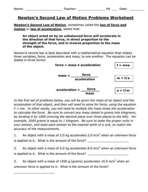 Newtons Second Law Of Motion Problems Worksheet Answer Key