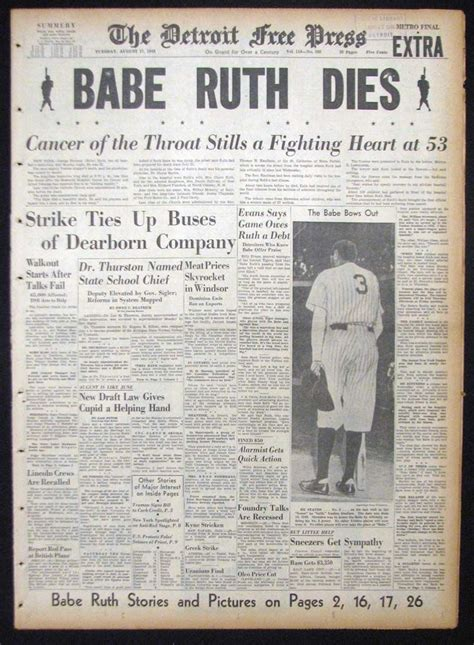 """Lot Detail - 1948 """"Babe Ruth Dies"""" Full Newspaper and 1947"""