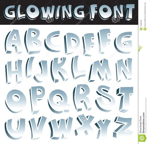 Glowing font stock vector