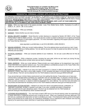 2020 Wireman Licence Application Form - Fillable