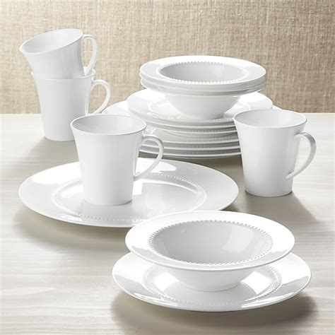 White Pearl 16-Piece Dinnerware Set   Crate and Barrel