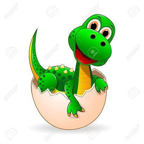 Small green dinosaur who just hatched from the egg