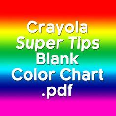 Free Color Chart for Crayola Super Tips Markers ~ Adult