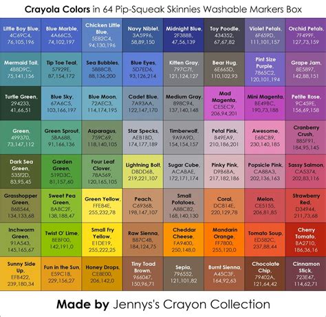 Crayola Supertips Color Chart 50 | Colorpaints