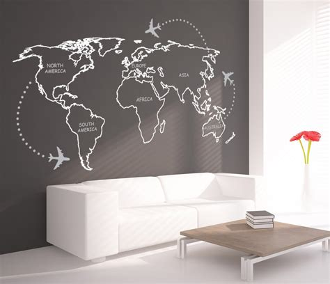 World Map Outlines With Continents Decal Sticker Wall Map
