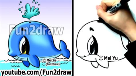 Easy Fun Things to Draw - How to Draw a Whale - Cute